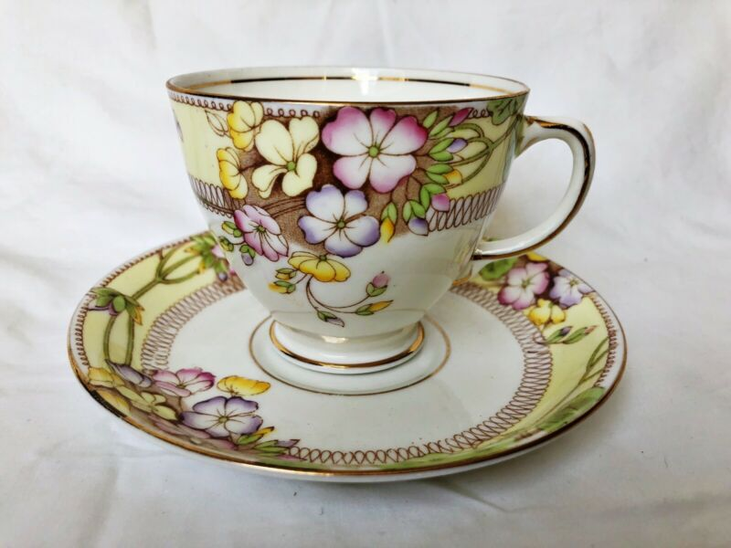 Sampson Smith Old Royal China Yellow Pink Purple White Flower Tea Cup & Saucer