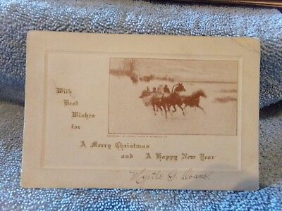 Vintage Postcard With Best Wishes For A Merry Christmas And A Happy New (Best Wishes For Merry Christmas And New Year)
