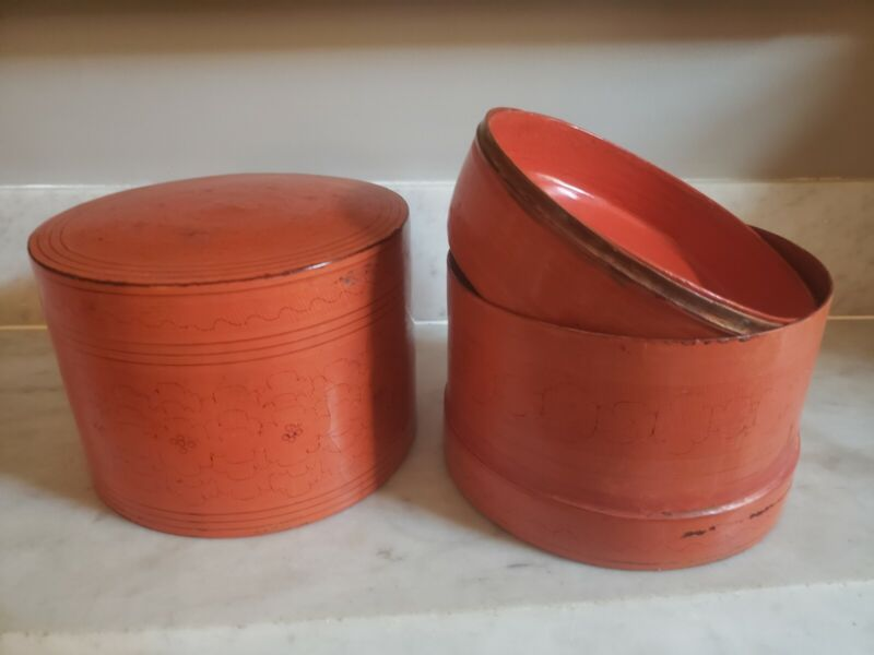 Vintage Burmese Hand-made Lacquer Food Container