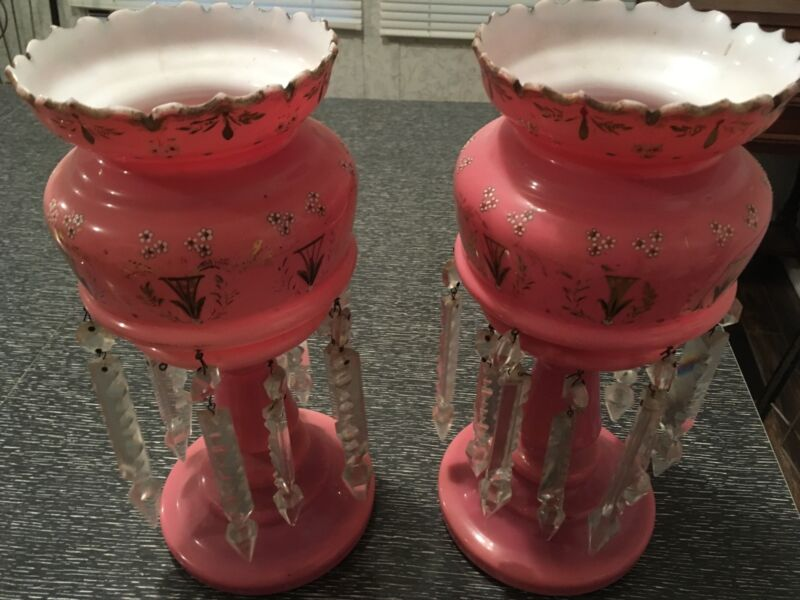 Pair of Beautiful Antique Pink Cased Glass Mantle Lusters