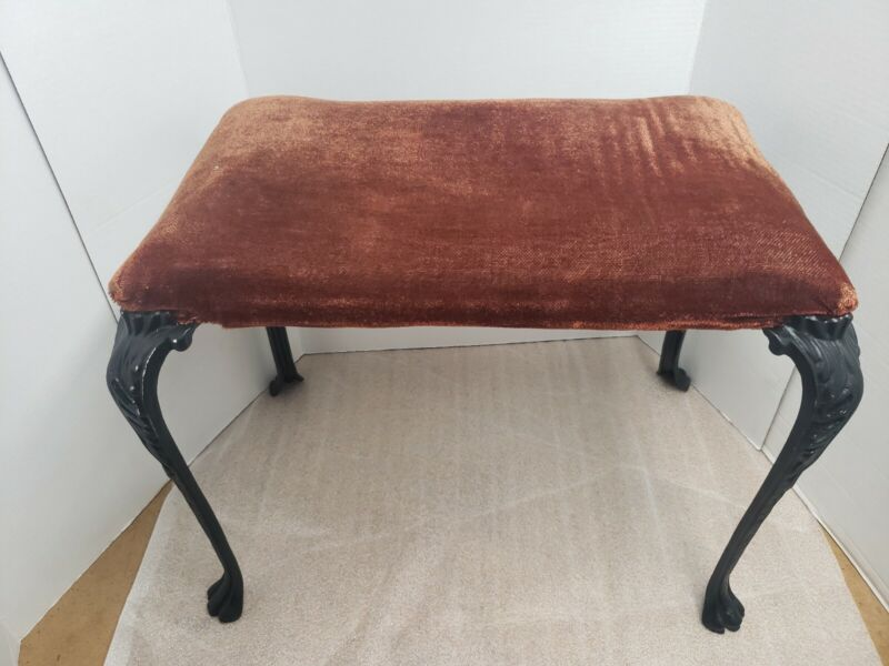 Antique Victorian Stool, Bench with Cast Iron Legs