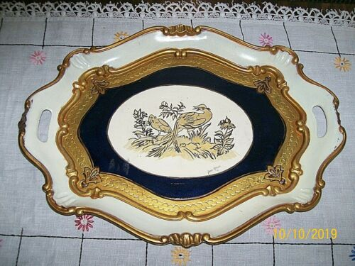 Florentine Wooden Tray / Gold Embossed / Hand Painted & Signed/Florence,Italy