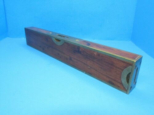 """nice 12"""" Stratton Brothers Greenfield brass bound rosewood plumb & level patent"""