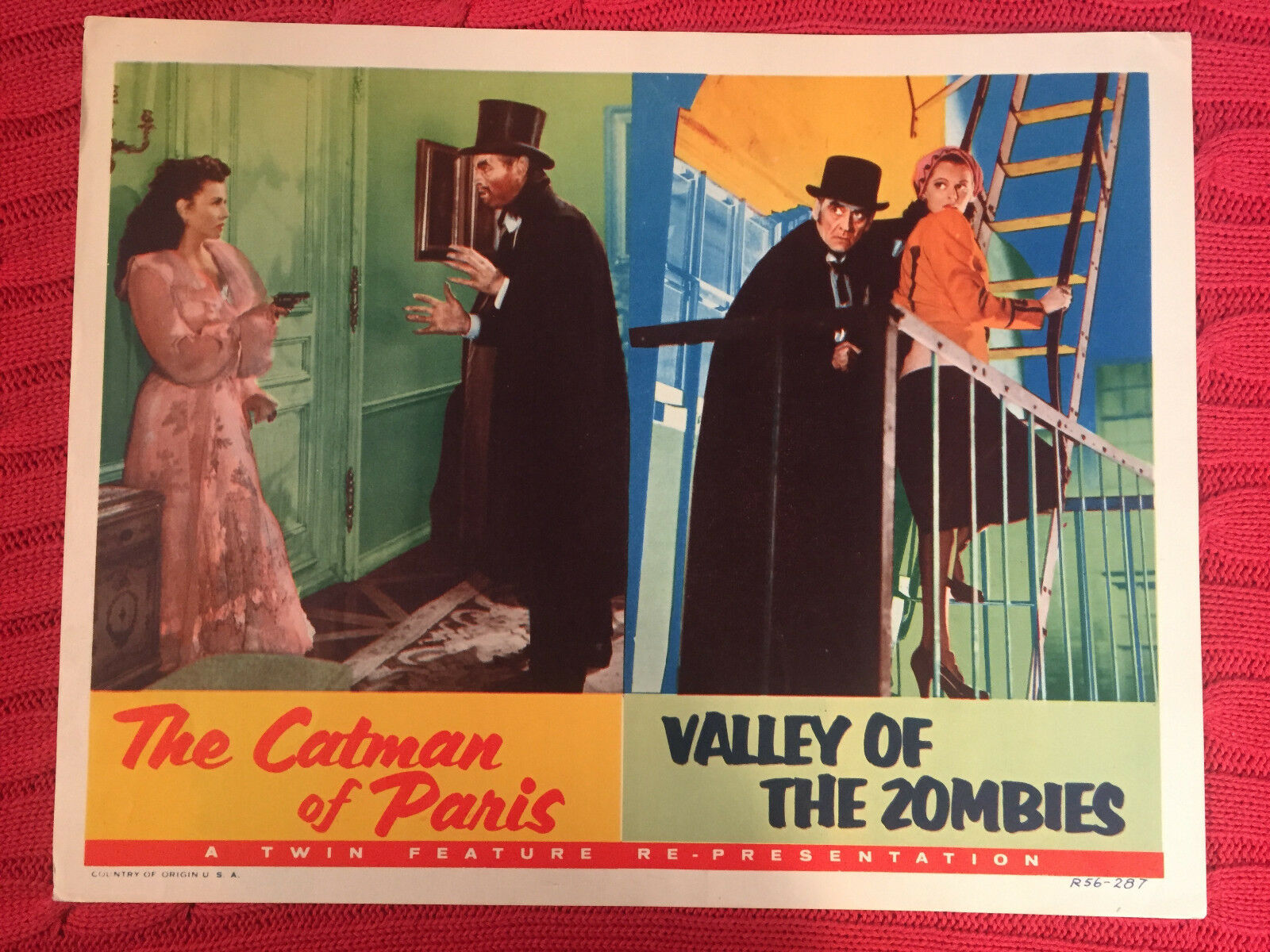 The catman of paris/ valley of the zombies 1956 rr horror lobby card carl esmond