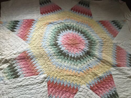 Antique Vintage lone star quilt very old 82 x 90 inches