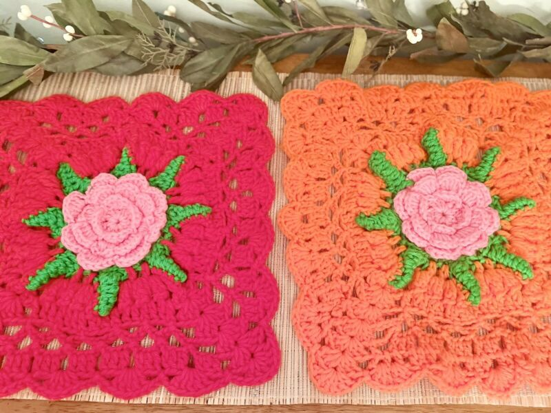 Vintage Hand Crocheted Flower Doilies Retro Hot Plate Table Placemat Orange Red