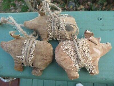 Primitive Pig Ornies Christmas Ornaments Set of 3