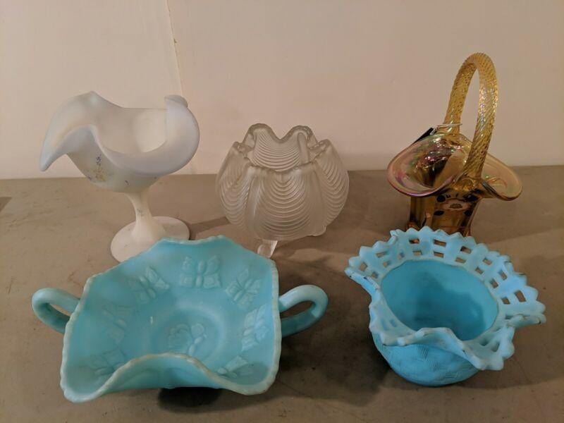 LOT OF VINTAGE FENTON GLASS HAND PAINTED CARNIVAL VASE BASKET SWIRL BLUE