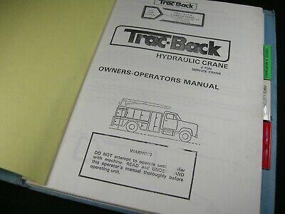Tracback Hydraulic Crane Owners Operation Maintenance Service Manual Trac-back
