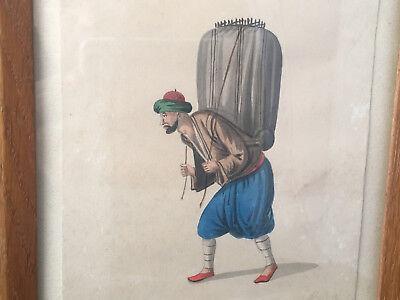 Zeichnung Aquarell Kostüm Türkisch XIX Antik Paint Turkish Lack Mittelbraun
