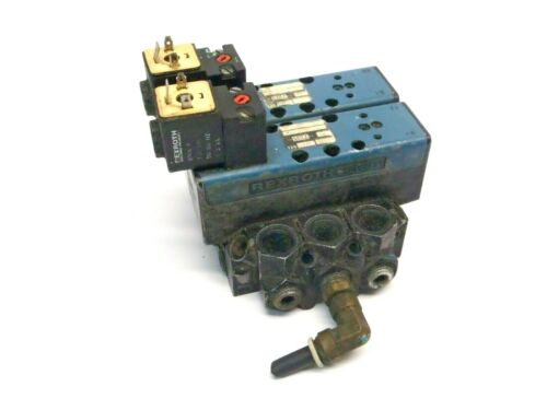 Bosch Rexroth 6T11061-2440 (2) Hydraulic Valves With Manifold 150 PSI Max