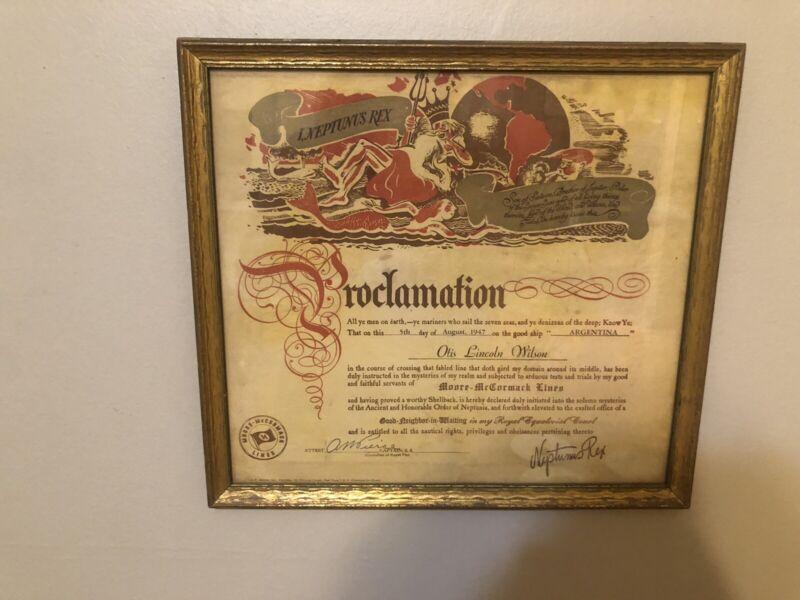 Vintage 1947 line crossing certificate
