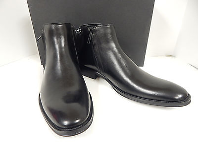Kenneth Cole New York Total Rewards Km62028 Black Lea  Ankle Boots W Zipper New