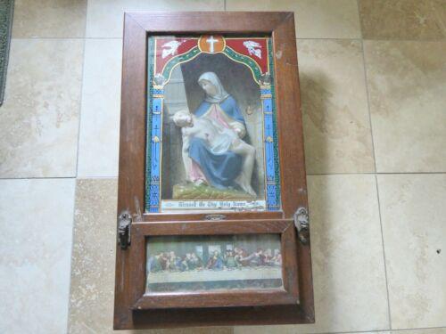 VINTAGE CATHOLIC LAST RITES SHADOW BOX WALL HANGING CHALKWARE MARY & JESUS