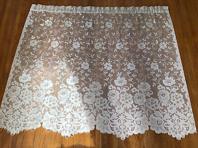 """2 Vintage Ivory Cream Lace Curtains 54"""" x 45"""" Floral Window Panel Drapes Modern"""