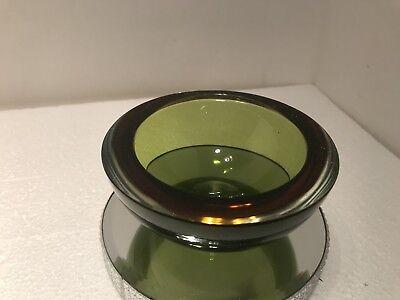 Vintage Murano Sommerso Amber And Green Art Glass Flat Cut Rim Bowl Amber Flat Rim Matte