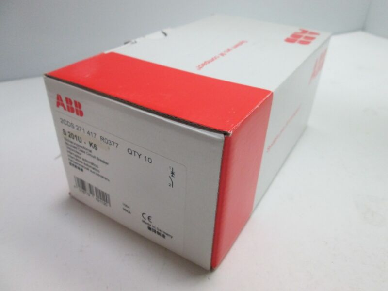 New Box of 10 ABB S201U-K6 Circuit Breakers, 1-Pole, Rating: 240VAC 6A