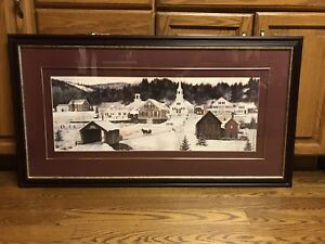 "Wall Art - Picture of a country village in winter 43.5"" x  23.5"""