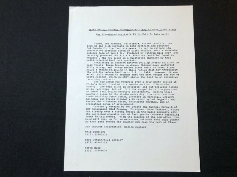 FLAME 1992 PRESS RELEASE - $15.00