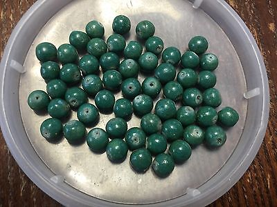 Vintage Organic Jade Green Color Coated Porous Look Round Bead Lot