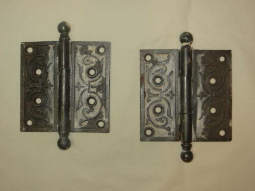 2 Vintage Antique Metal Ornate Victorian Style Door Hinges, 4-inch size