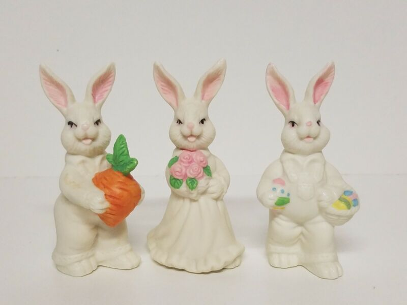 VTG ? Set 3 Bisque Bunny Rabbits Easter Decoration W/ Eggs Carrot Flowers CUTE !