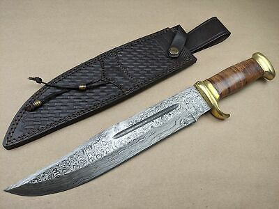 Marbles Damascus Steel Blade Bowie Knife Stacked Leather Handle + Sheath - MR586