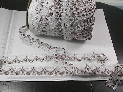 """Closeout Bolt Lace 1 1/4"""" White & Brown Medium Softness 50 Yards, used for sale  Shipping to India"""