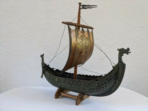 FINE Bronze Viking Ship Model EDWARD AAGAARD Copenhagen Danish Iron Metal Art