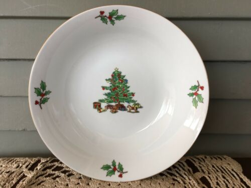 "Tienshan Holiday Hostess 9 1/4"" Serving Bowl Christmas Tree Holly Berry Gold Rim"