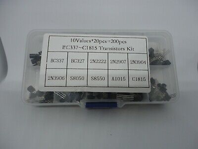 200pcs To-92 Transistor Pack Kit Set Bipolar 10 Values Bc337 S8050 S8550 A1015