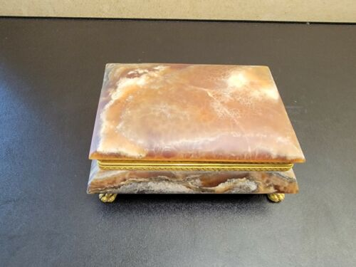 Jim Marble Alabaster Tirrenia Stone Trinket Box 6.75