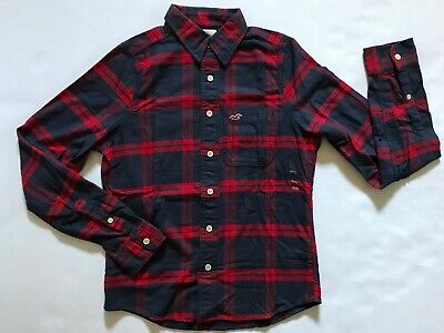 NWT Abercrombie & Fitch Men Long Sleeve Flannel Shirt Muscle Button Down Size M