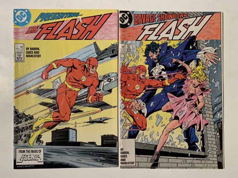 The Flash 2x Issue Lot, # 1 & 2 (Volume 2, 1987) DC Comics First Vandal Savage