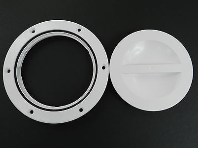 """Marine boat 4"""" round access Hatch cover, Screw out Deck plate -White"""