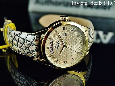 Invicta Men's 40mm Crop Swiss Parts Quartz Champagne Dial Leather Strap Be careful of
