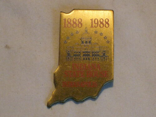 1 vintage INDIANA STATE HOUSE 1888 1988 pin historical political Indianapolis