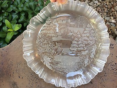 MIKASA Glass BOWL/CANDY DISH with Frosted ETCHED VGUC Winter Scene Christmas