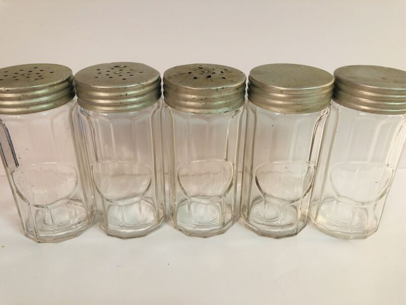 """Lot of 5 Vintage Hoosier Mission Co. Spice Jars Clear Glass - 5 1/4"""" Tall"""