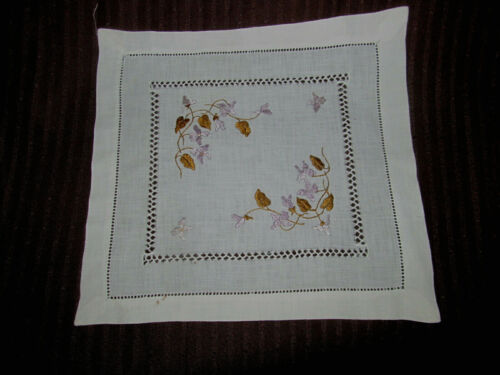 Sweet Purple Violets SOCIETY SILK Antique Embroidered Square Doily Drawnwork