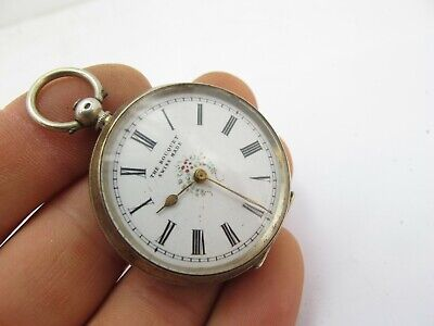 Vintage Antique Sterling Silver Key Wind Open Face Pocket Fob Watch The Bouquet