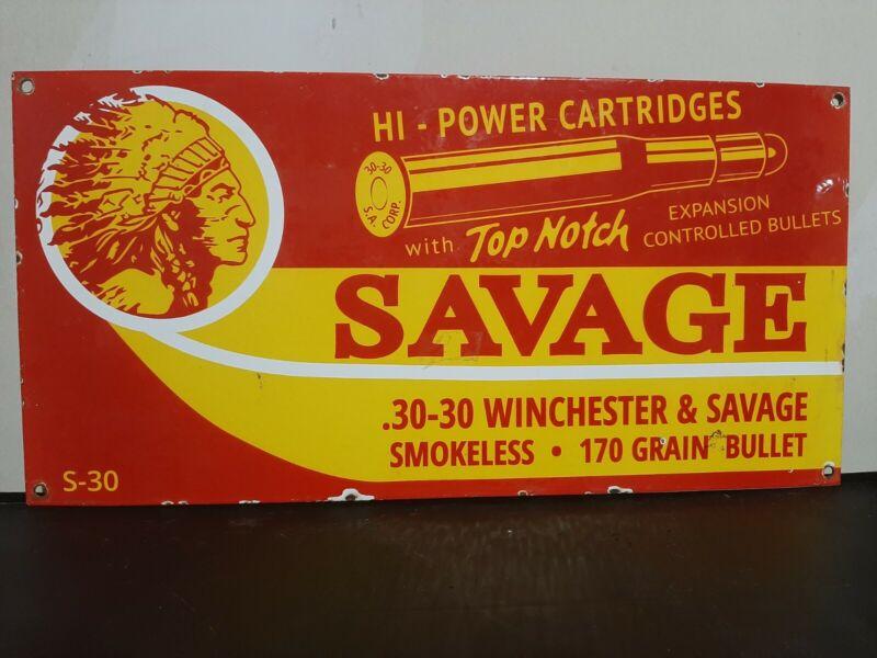 Savage arms porcelain sign 18x9