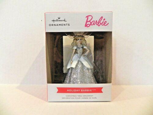 Hallmark 2021 Holiday Barbie White Glitter Dress Ornament HTF New!