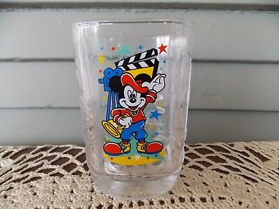 Vintage McDonald's 2000 Disney World Studios Square Glass Tumbler Mickey Mouse