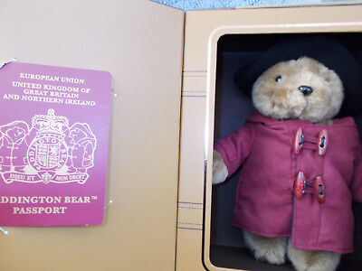 """Rare 10"""" Paddington Bear Soft Toy with Passport in Suitcase Box Collectable"""