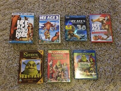 Ice Age 1-4 Plus Christmas Special & Shrek 1-4 Dvds - preowned - some blu Ray  ()