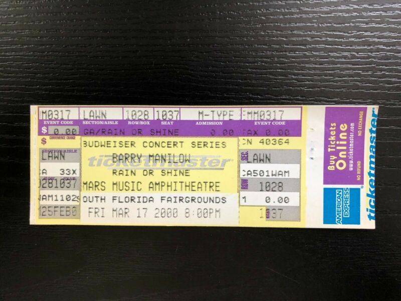 Barry Manilow UNUSED Full Concert Ticket Stub 2000
