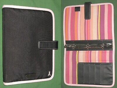 Classic 0.75 Pink Ribbon Nylon Day Runner Planner 3 Ring Binder Franklin Covey