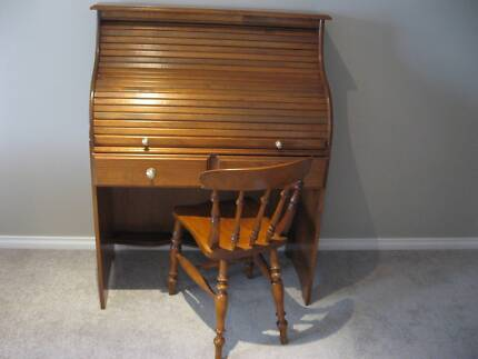 ROLL TOP DESK & ANTIQUE CHAIR Quinns Rocks Wanneroo Area Preview