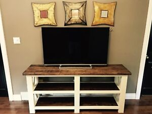 Rustic X base farmhouse tv stand.